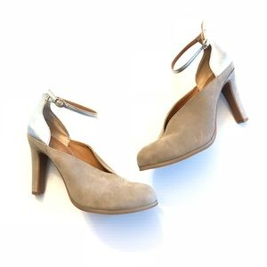 Seychelles   tan & gold ankle strap heels